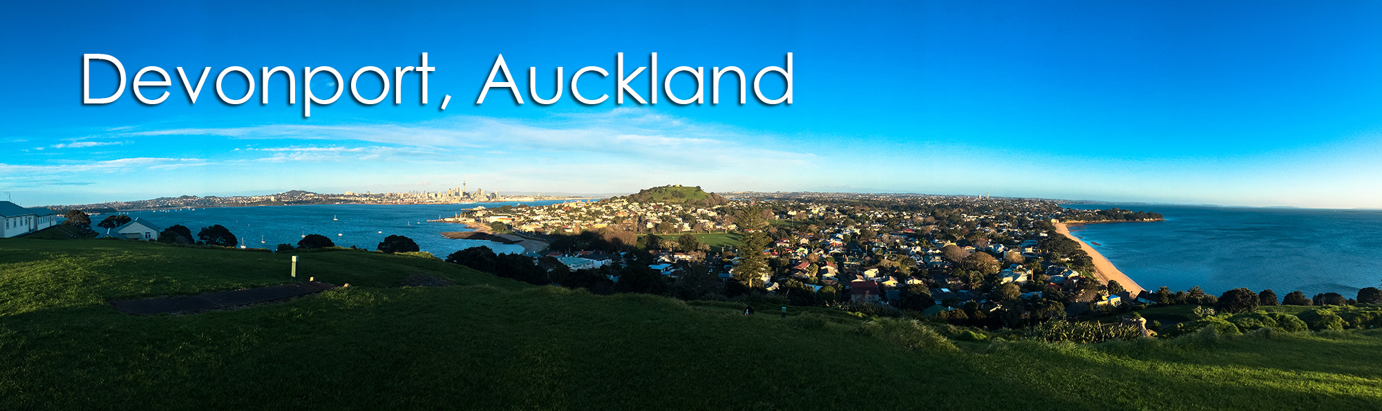 View of Devonport from North Head looking towards Auckland New Zealand