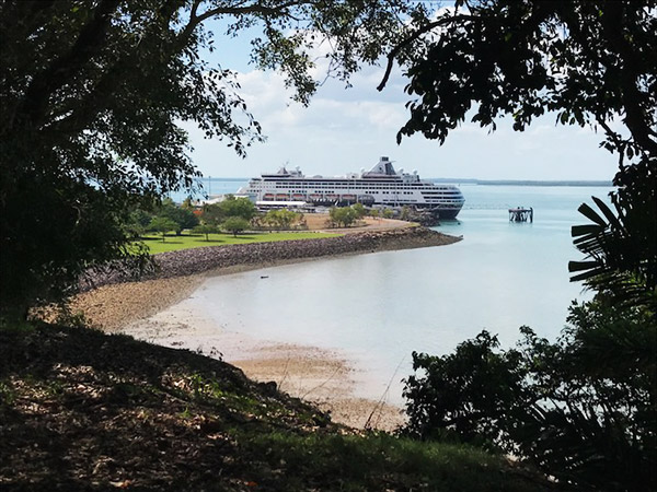 Cruise ship docked in Darwin Harbour