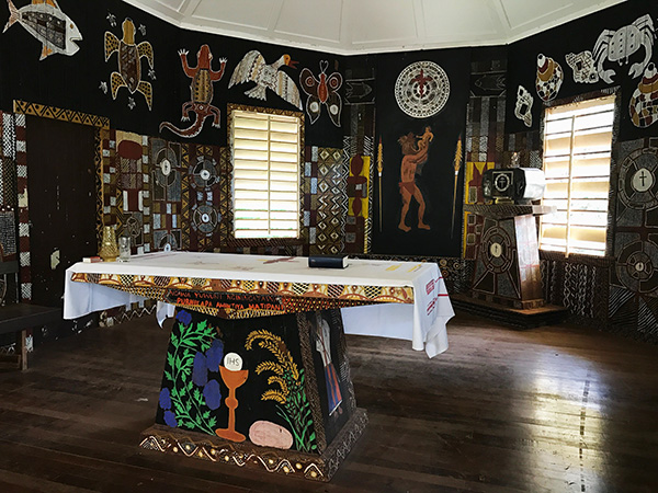 Catholic Church Altar Tiwi Islands close up