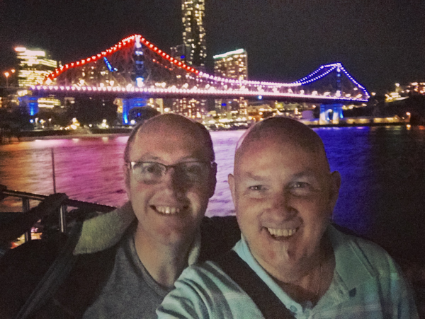 Christopher and Andrew with Storey Bridge in Backgound at night