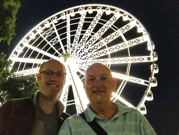 Christopher and Andrew at Southbank Brisbane Ferris Wheel at night