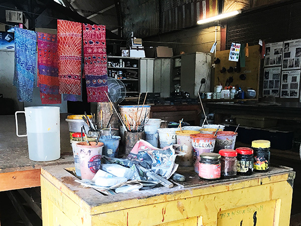 Artist Studio Tiwi Islands fabric printing workshop