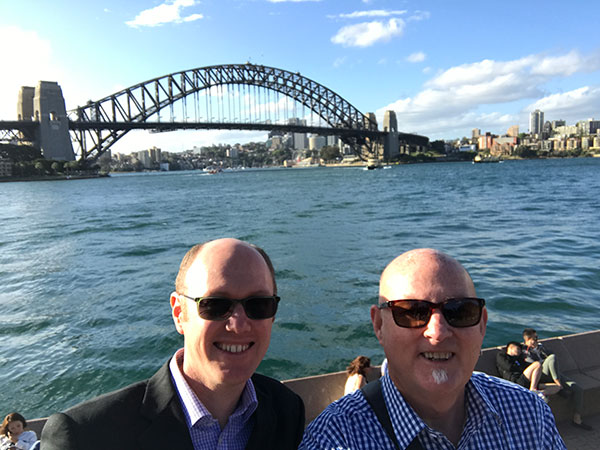 Andrew and Christopher on Sydney Harbour