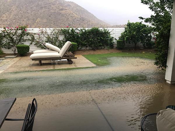 flooded backyard near pool