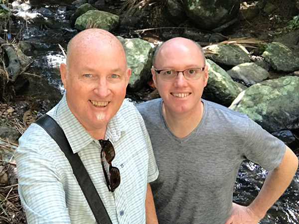Andrew & Christopher known as Global Wanderers at Curtis Falls, Queensland