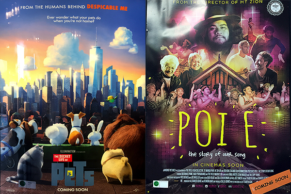 Movie Posters for The Secret Life of Pets and Poi E