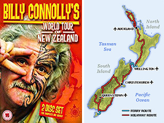 Billy Connolly New Zealand DVD cover and New Zealand Map
