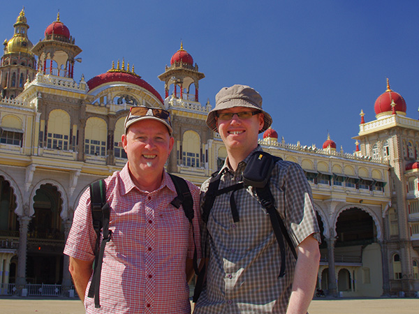 Andrew and Christopher outside the Mysore Palace India