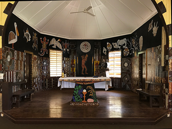 Catholic Church Altar with aboriginal artwork Tiwi Islands
