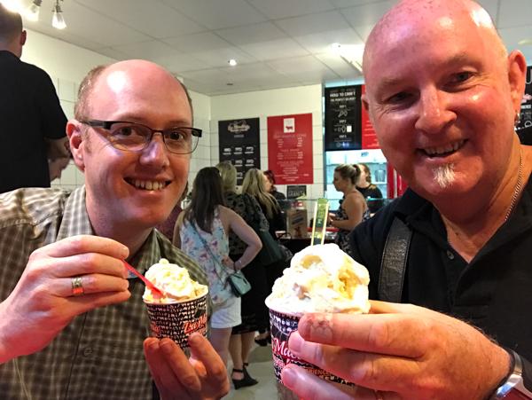 Andrew and Christopher having the best gelato we have ever eaten at La Macelleria Gelateria Brisbane