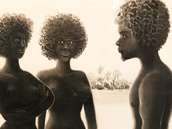 Early painting of Tiwi Islands Aboriginals