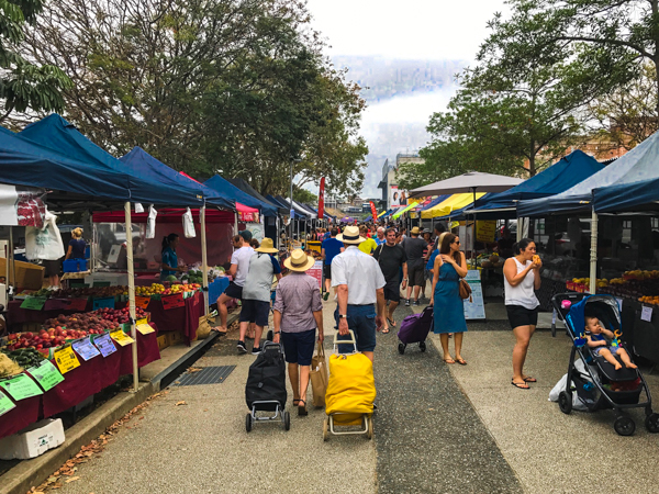 People visiting the Powerhouse Markets Brisbane