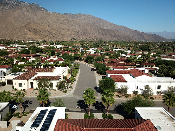 neighbourhood aerial view from house palm springs