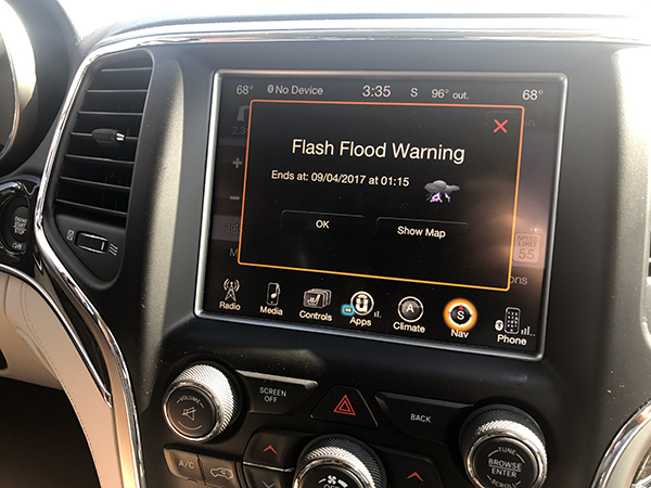 flash flood warning in car