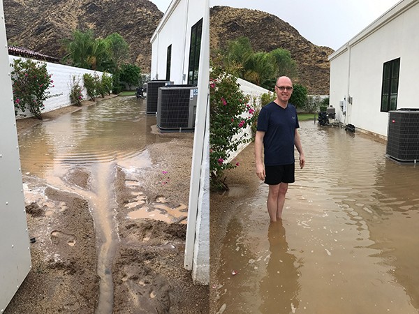Andrew in flooding at side of house