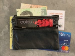 Travel wallet with cards and cash