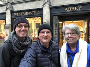 Sharon, Andrew & Christopher outside Westminster Abbey