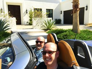 Andrew and Christopher in Car in Palm Springs