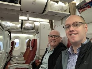 Global Wanderers on Air India flight from London to Mumbai