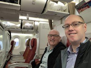 Global Wanderers on Air India flight from London to Mumbai